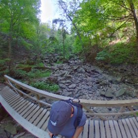 Bridge over dry riverbed #bridge #riverbed #rocks #travel #hiking #forest #theta360