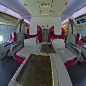 Qatar 777-300ER (non-Qsuites). Our ride from Doha (DOH) to Atlanta (ATL). Except we are in window pair of seats. #theta360