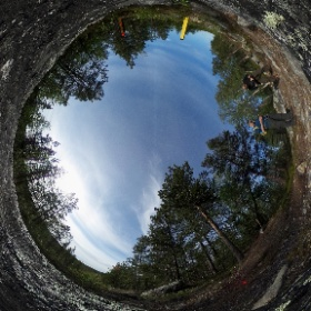 Borealis Project: Treriksrøysa, the border between Norway, Russia and Finland in the Pasvik Nature Reserve.  © Jeroen Toirkens / Jelle Brandt Corstius #theta360