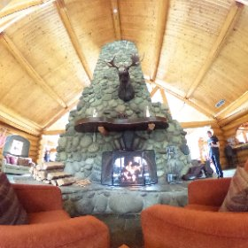 The Great Fireplace and Moose at Tyax Wilderness Lodge. It's like being in an upscale hotel, but made of logs. With a moose. #theta360