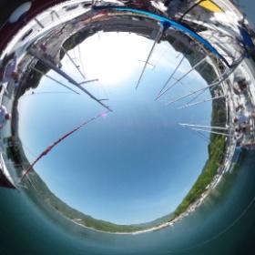 宇久須港にヨットが9隻並びました。そして、宴会! #theta360
