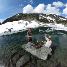 10 hour bushwhacking epic pays off, with a visit to the little lake (at 6400ft) that feeds our cabin water system. #mountainlife #360VR #pembylife #discoverbc #theta360