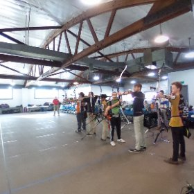 Shooting line AB at the 9am line of the 2018 ITAA Indoor State JOAD. Sorry the outside lanes are hard to see. #archery  #theta360