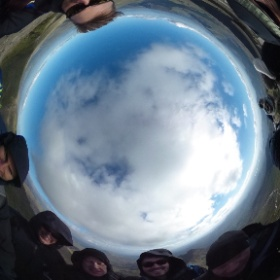 We did it! The team having a 1000m climb at the top of Snowdon #vbdomore #theta360