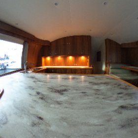 The galley and salon of the new Winter Custom Yachts 60 - Wolverine.