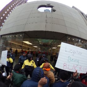 360 pano of protest in front of Apple Store