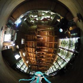 小樽の北一ホールにてミクさんとランプの点火作業を見学♪ #miku360 #theta360