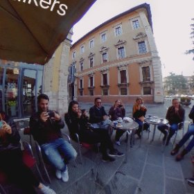 The brave Sunrise Film Walkers : Thursday cappucuno debrief @journalismfest. #IJF17 #MoJo #FilmWalk