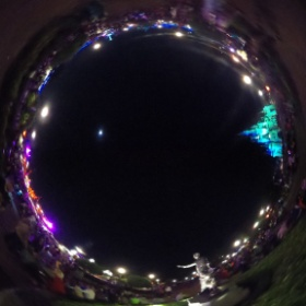 Walt Disney World - Magic Kingdom Partners Statue and Cinderella Castle at night. #theta360