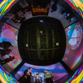 """Artist Karina Smigla-Bobinski unveiled """"Kaleidoscope"""" at the Exploratorium during an event where guests were invited to put their hands — and feet — all over the interactive sculpture."""
