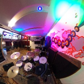 The view from behind the drum set in the Live Room of The Boom Room  #recordingstudio #rehearsalstudio #philadelphia #boomroomstudios #360photo  #theta360