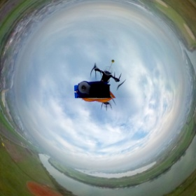 Today's flight with THETA 360 by my quad copter.
