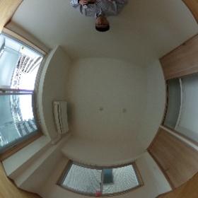 世田谷区等々力にあります「プランドール尾山台」1LDKの洋室パノラマ写真です。南側の日当りが良好で開放的ですよ。物件詳細はこちらhttp://www.futabafudousan.com/bukken/g/syousai/439dat.html #theta360