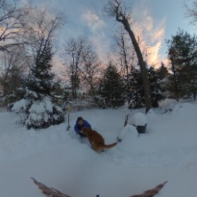 January 23 snow storm drops a foot of snow in our backyard. #theta360