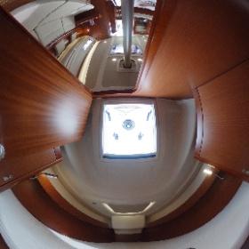 360-degree-spherical-image of the new sailingyacht Dehler 34 by http://Yachtfernsehen.com. 360-Grad-Foto von Eignerkabine und Salon der neuen Segelyacht Dehler 34. #theta360
