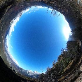 Panorama verso Cortina d'Ampezzo dal belvedere sul sentiero 434 per il rifugio Croda da Lago che domina il Bus del Tizon e il Beco d'Aial #theta360 #theta360it