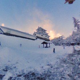 雪の白石城 #theta360