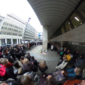 In front of Metro Malbek today, people putting flowers in silence.