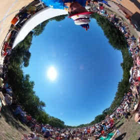"""Richard Craig, founder of the """"Trees for Pease"""" and """"Pease Park Conservancy"""" groups celebrating Eeyores 56th annual Birthday Party in Pease District Park, Austin Texas, April 27, 2019. #theta360"""