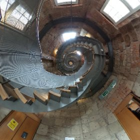 Spiral staircase at the Charles Rennie Macintosh exhibit at The Lighthouse in Glasgow  #theta360 #theta360uk
