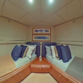 360 view 87' Oceanfast guest Stateroom #2. Lovethatyacht.com #theta360