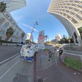 Authorized media vehicles exempt. 360 photo w/ @KathyNBCLA @NBCLA #theta360