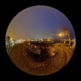 High Tide of March 3rd in Claddagh Quay | Panorama of the Spanish Arch and the Longwalk featuring just open PÁLÁS Movie Theatre building designed by architect Tom de Paor #galway360 #div360 #rain3d #theta360 #theta360