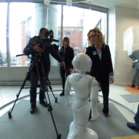 .@atbfinancial Sr. Manager of Innovation, Sandi Boga, introduces one of our robots to the media. #ATBinnovates