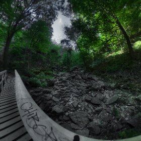 Bridge over riverbed, shot bracketed with ThetaS and combined with #AuroraHDR2017 #outdoors #nature #wilderness #travel #landscape #forest #tree #canada #canada_gram #artofautumn # #theta360