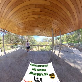 Botanic terrace Pavilion centre piece of Botancial gardens in Kings Park Perth city West Australia, with paths trails, lawns https://kingsparkwa.com/BotanicTcePavilion BEST HASHTAGS #butterfly3d #KingsParkWA #PerthCity #theta360 #theta360
