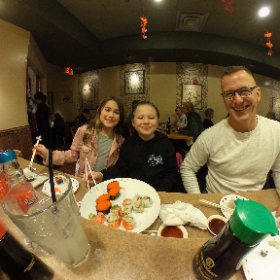 Another #sushi night at Hayashi with these two little sushi monsters.  #food #cuties #theta360