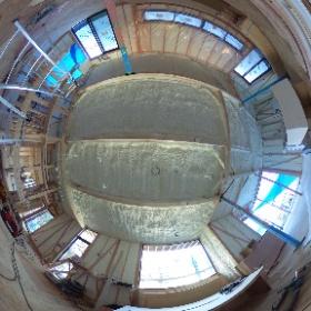 □haus-flat□ 2階リビング。断熱材が吹かれて真っ白な空間になりました♪ #hausflat #haus #一級建築士事務所haus #リビング #theta360
