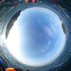 Di atas jukung saat tur Lumba-lumba di sekitar Teluk Kiluan. #theta360