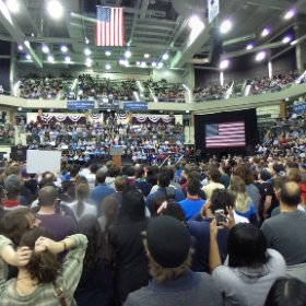 Presidential candidate Bernie Sanders speaks to a crowd at a campaign rally at Chicago State University on Feb. 25, 2016